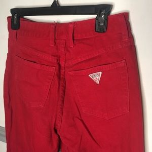 Red GUESS high waisted jeans